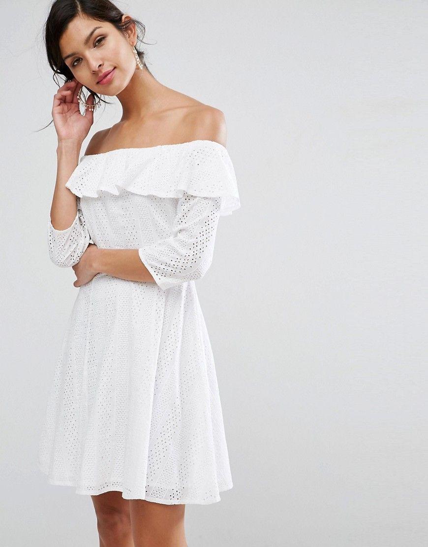 246adafd24 ASOS Broderie Off Shoulder Skater Dress - White