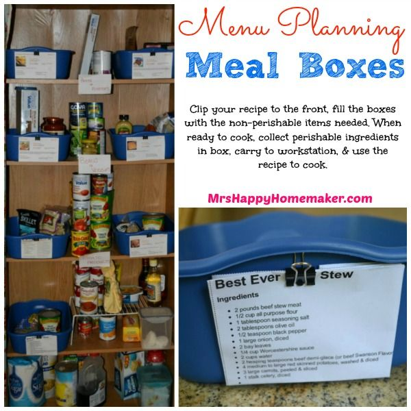 Menu Planning Meal Boxes - great way to get the pantry organized & plan meals too! #organization