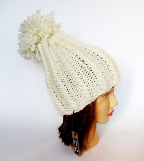Tall hat - natural white hat - hand knit hat - chunky knit hat - pom ...