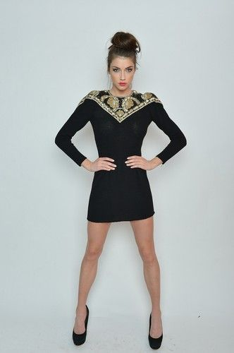 Vintage Heavily Beaded Embroidered Strong Shoulder Woven Sweater Dress s M | eBay