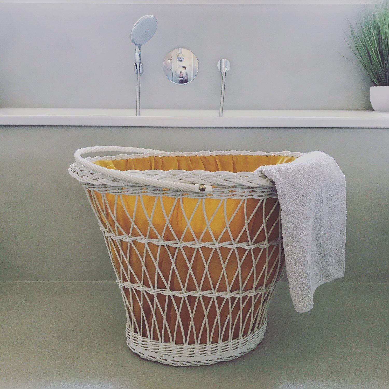 Grosser Mid Century Waschekorb Waschetruhe Weisser Korb Badezimmer Vintage Interior Waschetruhe Waschekorb Aufbewahrung