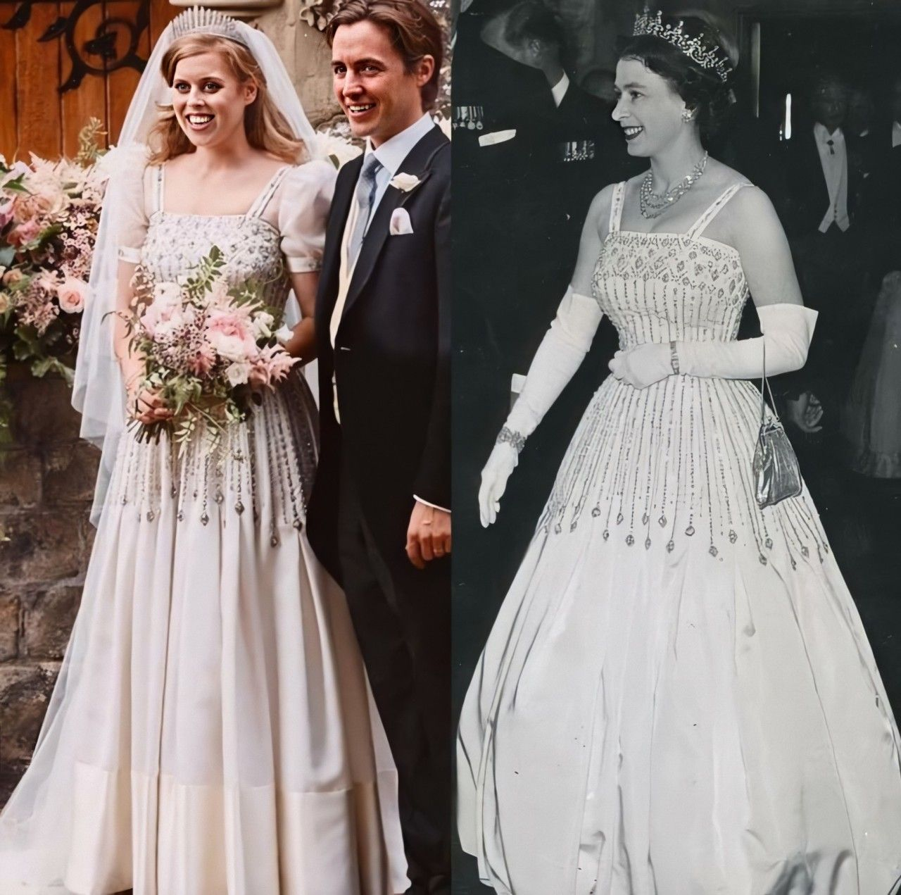Princess Beatrice Wore A Vintage Dress By Norman Hartnell And The Queen Mary Diamond Frin Princess Beatrice Wedding Royal Wedding Dress Queen Elizabeth Wedding [ 1271 x 1280 Pixel ]