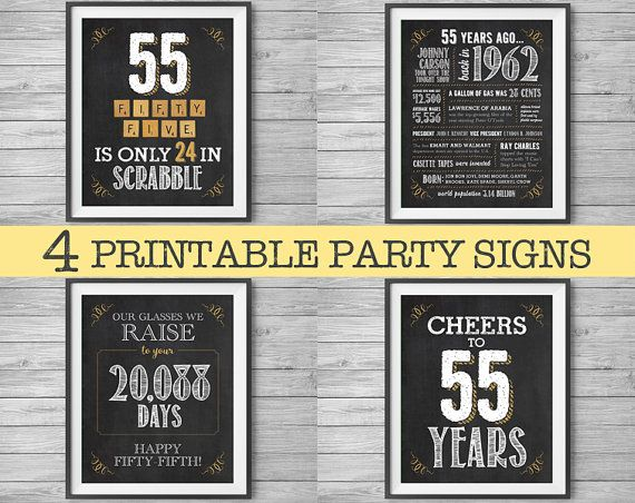55th Birthday Or Anniversary 8x10 Signs 1962 Printable By NviteCP Sign
