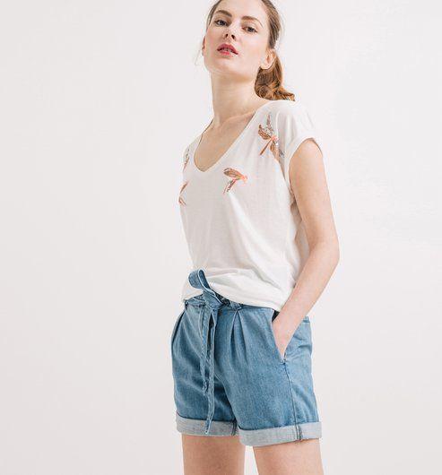 Short en jean taille haute jean clair Promod