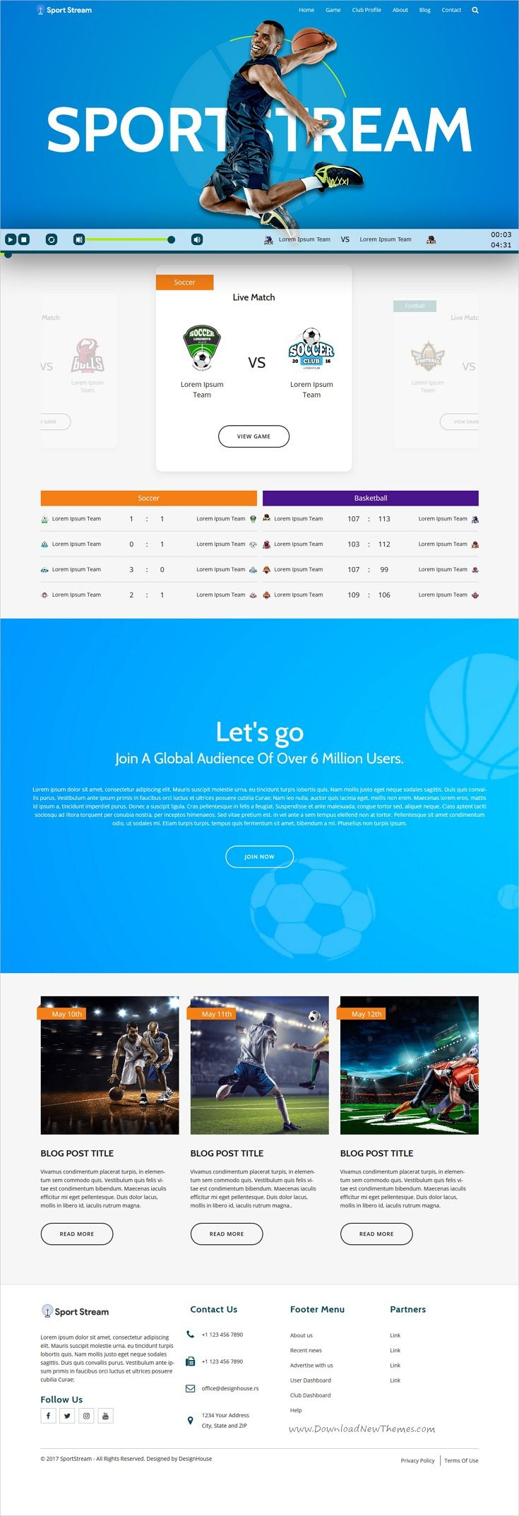Sportstream Is Clean And Modern Design Responsive Html5 Template
