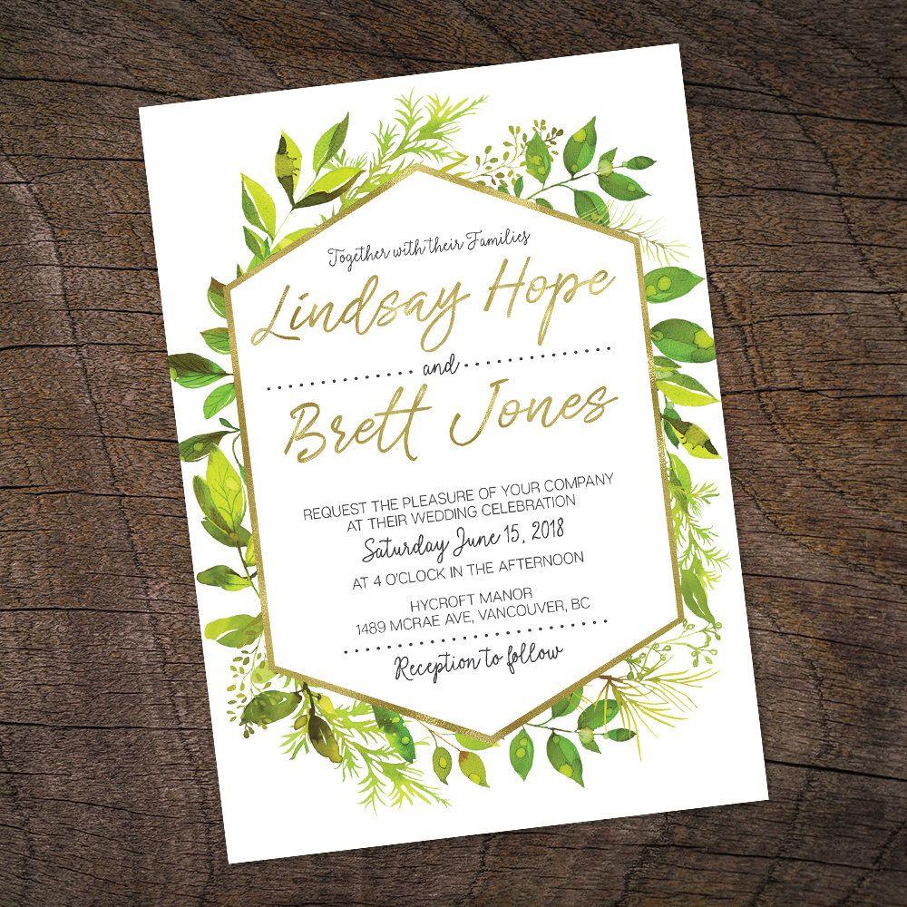 Greenery Wedding Invitation, Geometric Wedding Invite, Botanical ...