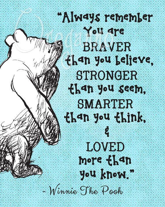 Winnie Pooh You Are Braver Quote Printable Poster Von Oreganno