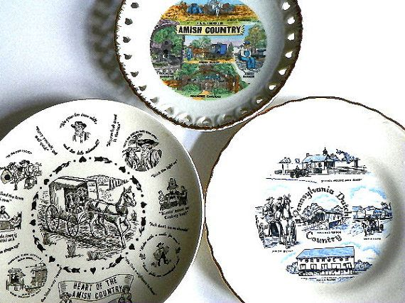 3 Beautiful Vintage Amish Themed Plates Wall Decor Dishes | Plate wall