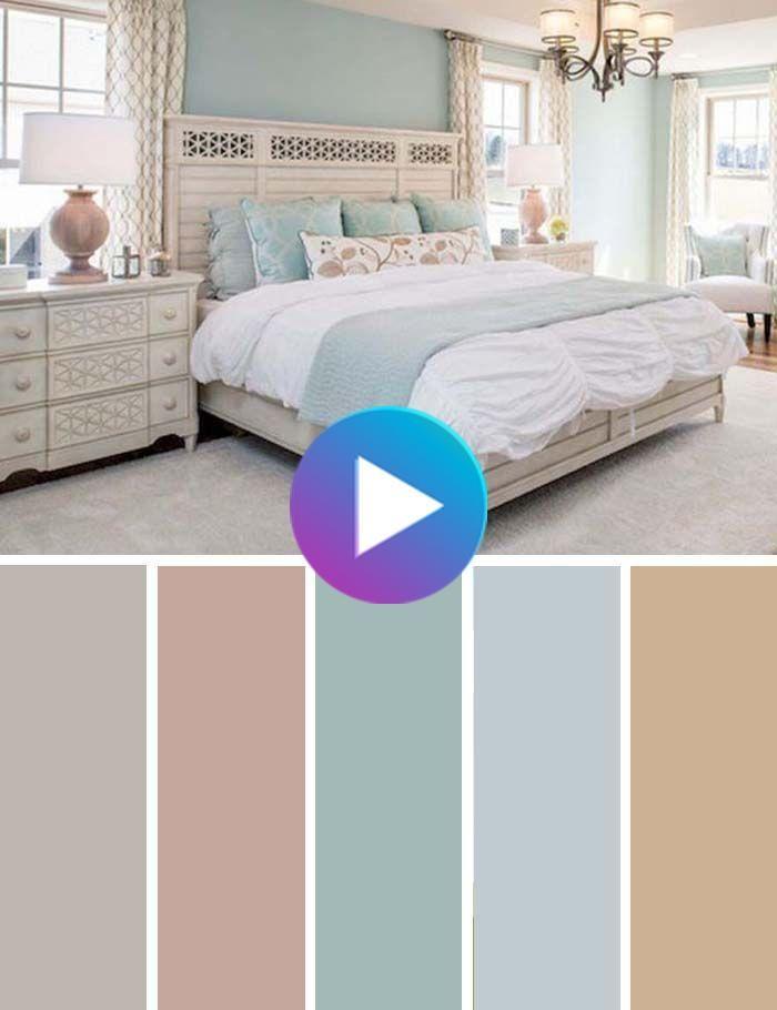Crème pastel et bleu Chambre Color Scheme #bedroom #color #scheme #decorhomeideas #colorchart #décordesalledebain #idéesdéco