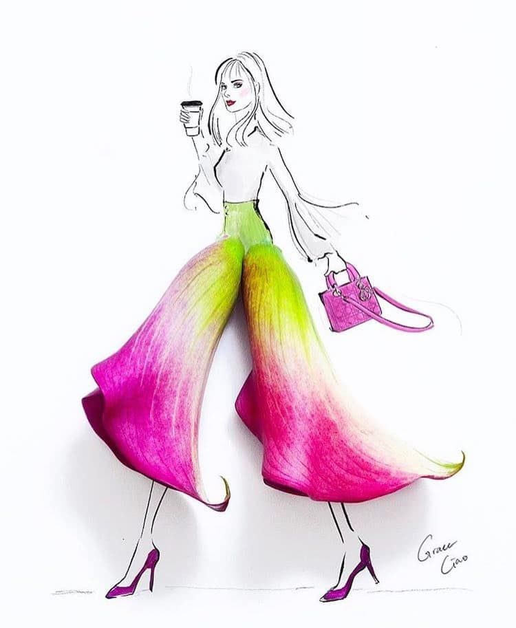 Artist Uses Real Flower Petals to Create Blossoming Fashion Illustrations
