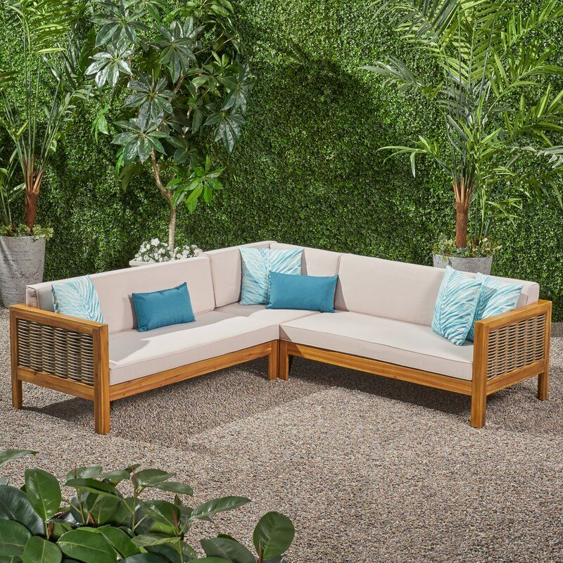 Kennison Patio Sectional With Cushions In 2020 Sofa Set Beige