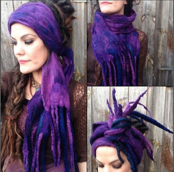 The 'Eolande' Tye Dye Purple Witch Dread Wrap, Headscarf, Turban with Vibrant Dreads, Pagan, Fantasy, hippie Wear