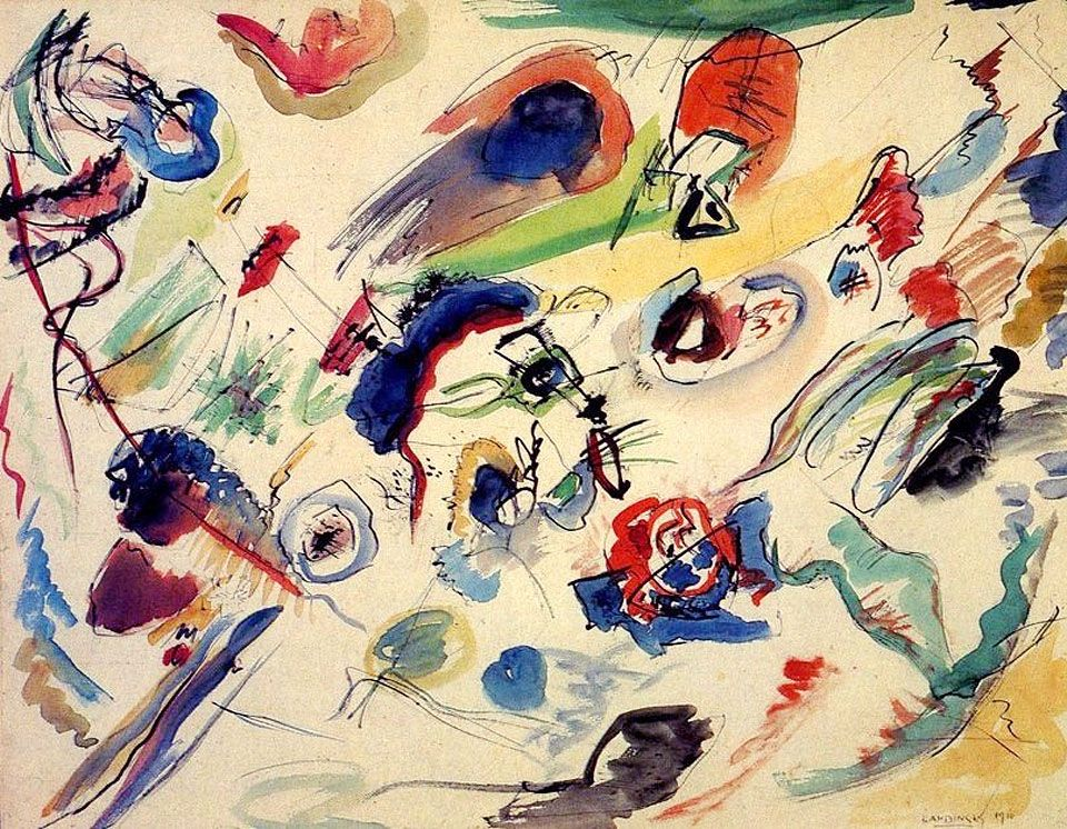 Untitled First Abstract Watercolor 1910 By Wassily Kandinsky