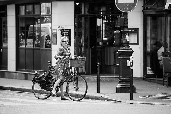 Parisian Streets - Madame and her bicycle by Andrew & Mariya  Rovenko