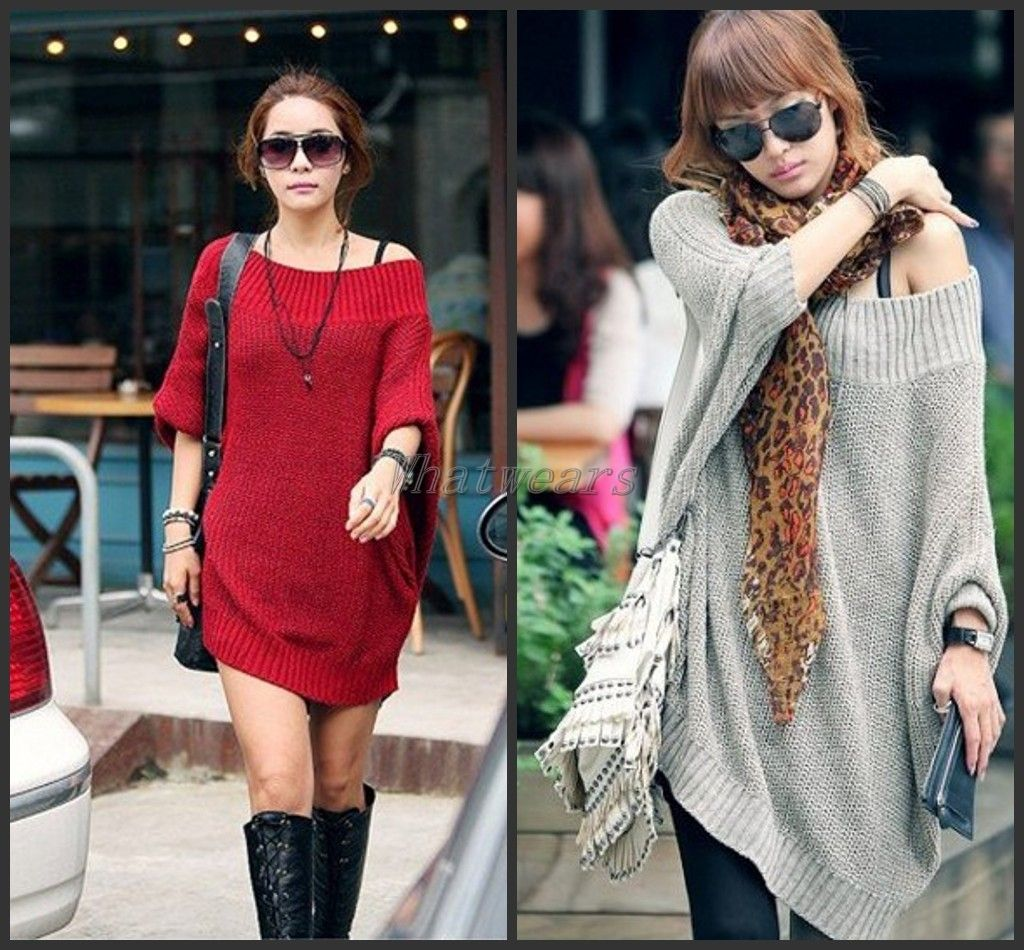 Womens Off Shoulder Batwing Oversized Sweater Cardigan Knit Blouse ...