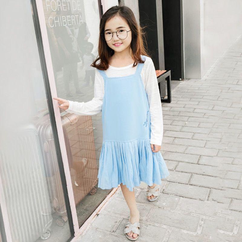 18684b99309 Summer Spring Tank Dress Korean Style Sky Blue Kids Dress Girls Clothes  Sleeveless Ruffles Dress For 5 7 8 9 10 11 12 14 Years  Affiliate