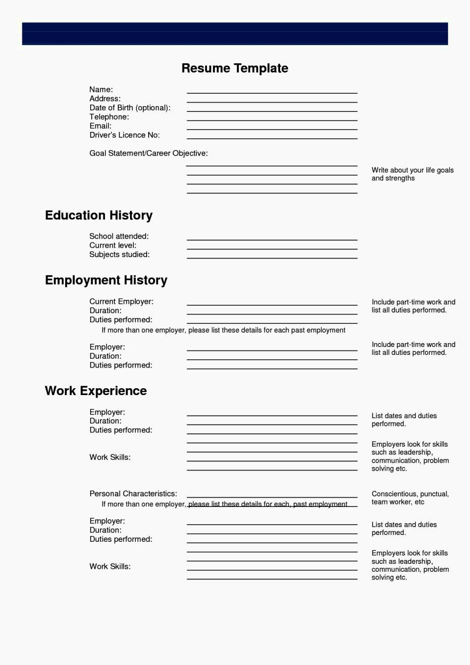 Resume Template Fill In New Easy Fill In Resume Resume Template In