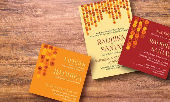 Modern Indian Wedding Invitation Set Flower Strings