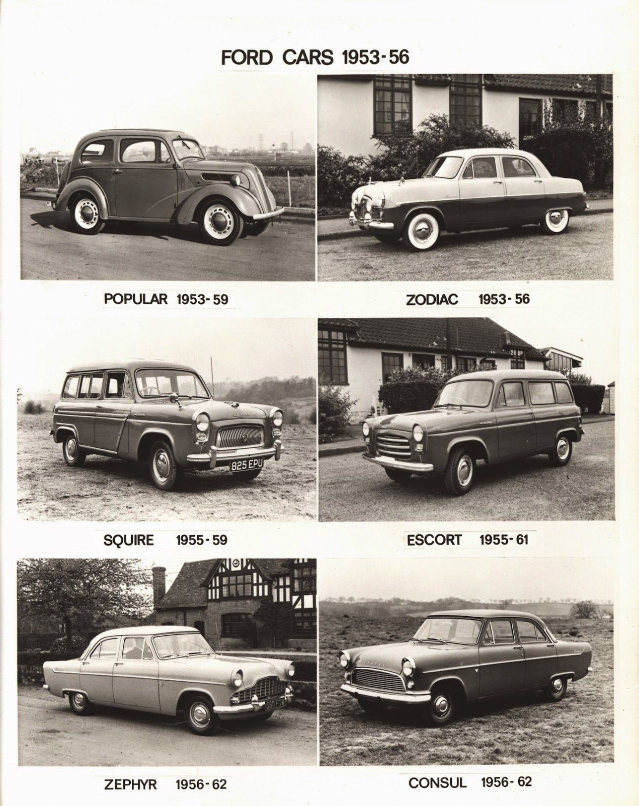 Ford of England cars through the years 1928-1958