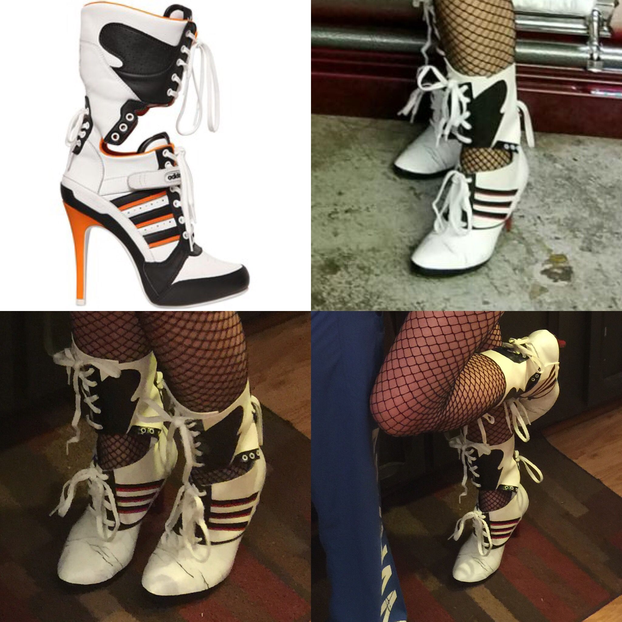 Batman Harley Quinn Cosplay Costume Suicide Squad Party Highheels Shoes Boots
