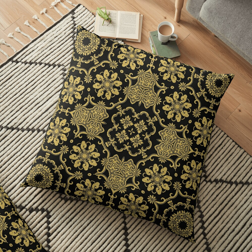 Gold Black Damask Octagon Pattern Floor Pillow By 89black In 2020 Octagon Pattern Floor Pillows Patterned Floor Pillows