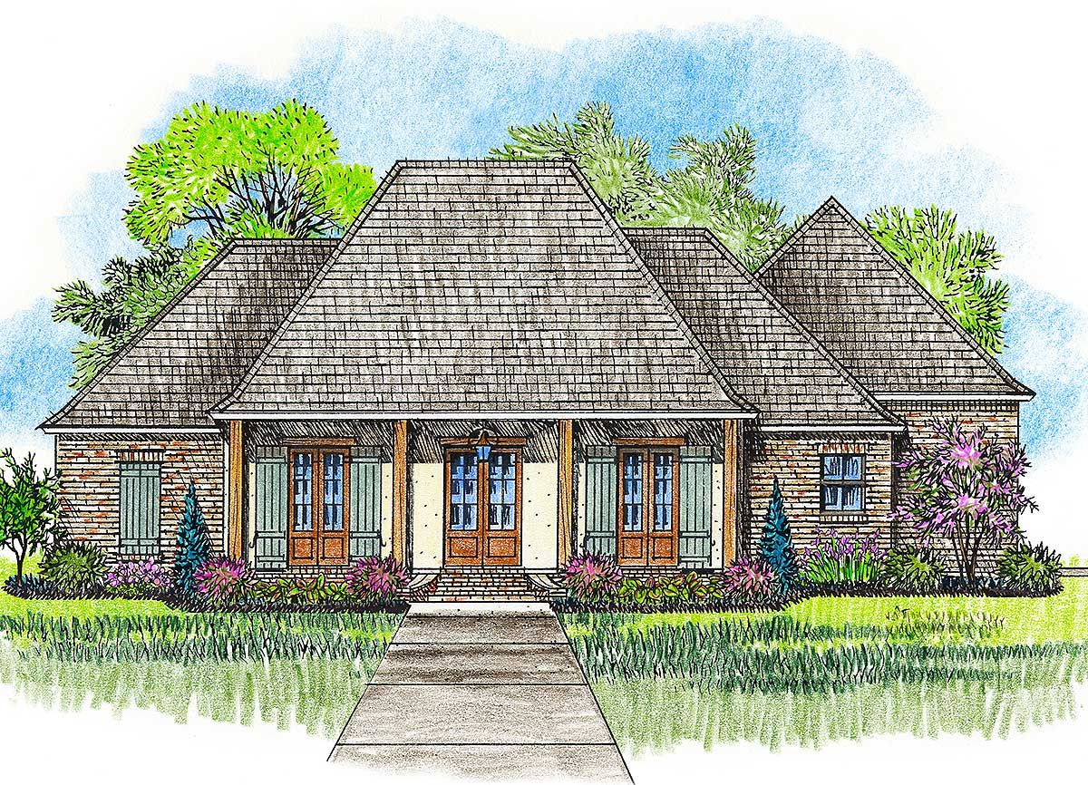 Plan 56379sm Acadian House Plan With Great Rear Porch Acadian House Plans Madden Home Design Monster House Plans
