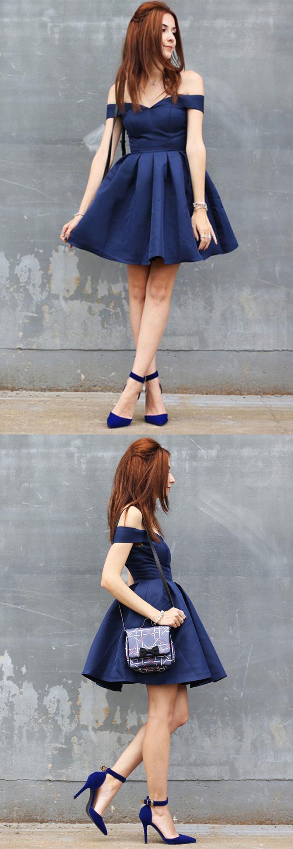 Aline offtheshoulder short navy blue homecoming dress prom