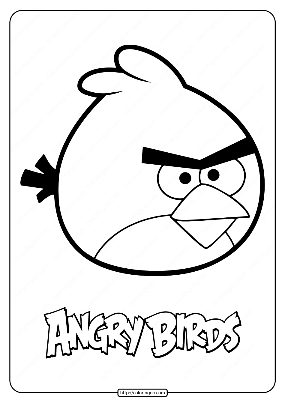Printable Angry Birds Red Pdf Coloring Pages In 2020 Bird Coloring Pages Coloring Pages Free Printable Coloring Pages