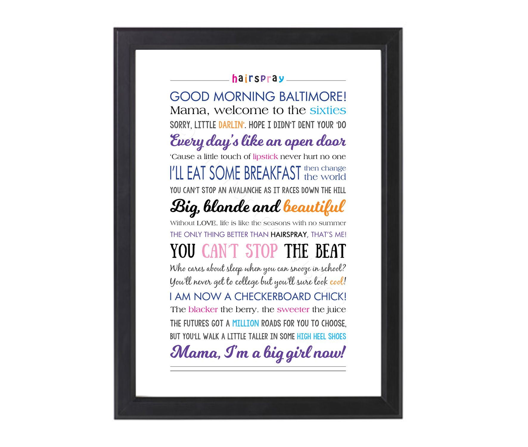 Hairspray Musical Quotes Lyrics Print Prints Wall Art Quote