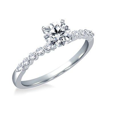 050 ct tw Diamond RoundCut Engagement Ring in 14K White Gold