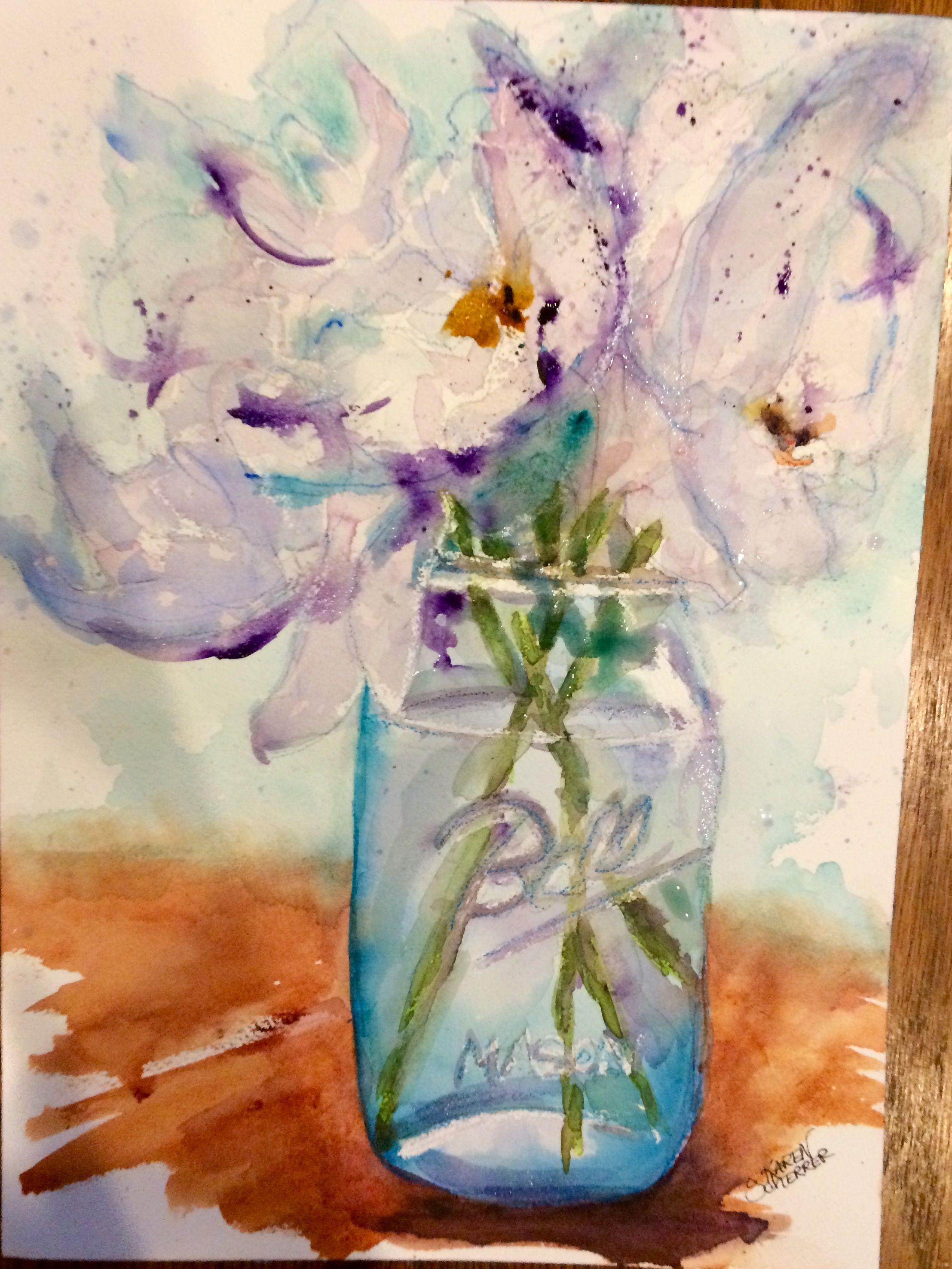 Watercolor artists in texas -  Peonies In A Jar By Texas Watercolor Artist Karen Scherrer