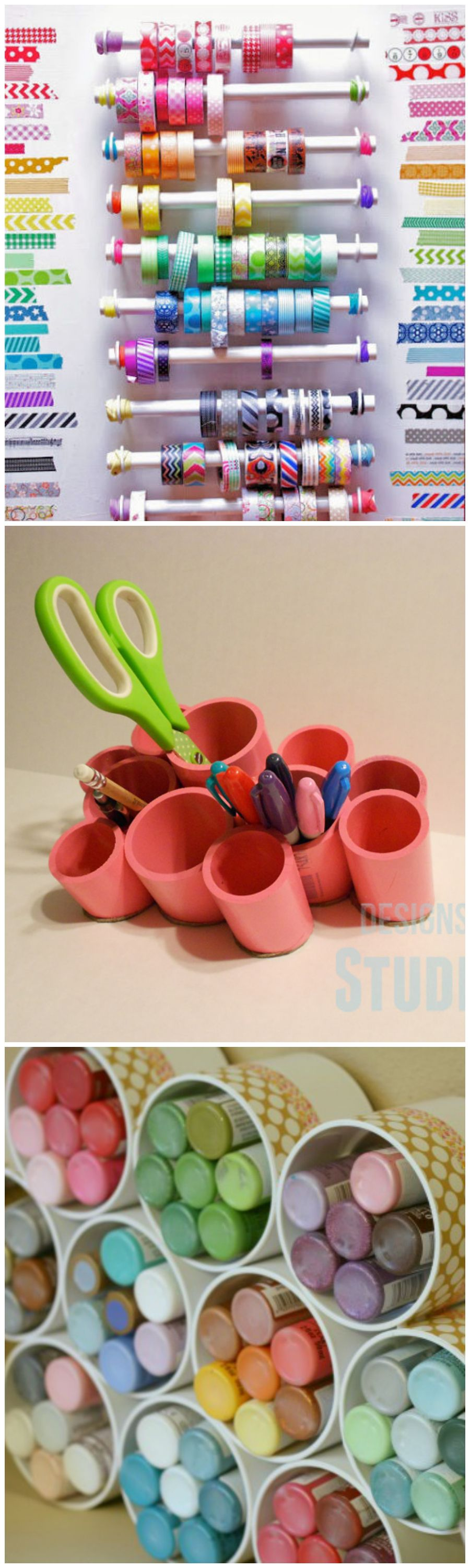 Use PVC Pipes to Organize Your Craft Room - Ribbon Racks, Desktop Organizer, and Paint Tube Storage