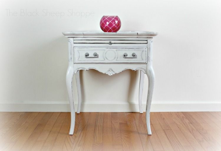 High Quality After: Queen Anne Style Side Table Painted In Linen White.