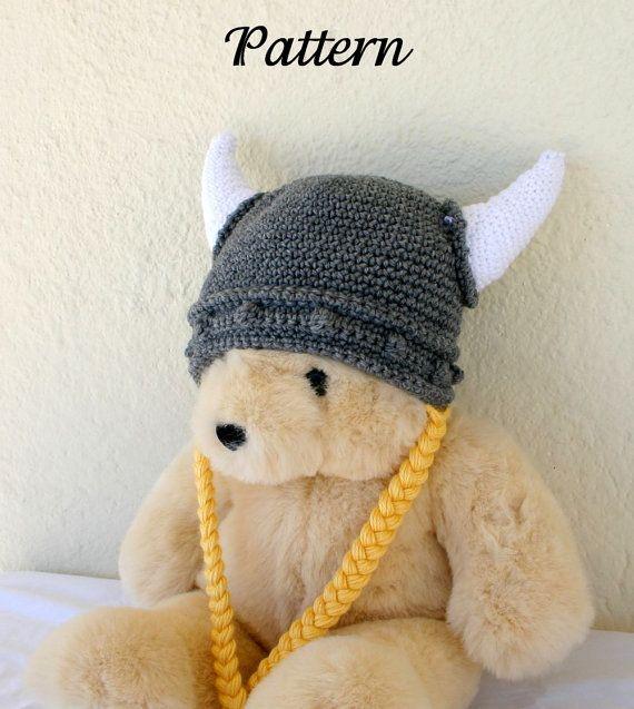 Viking Hat Pdf Crochet Pattern Child Teen Adult Gray White Yellow
