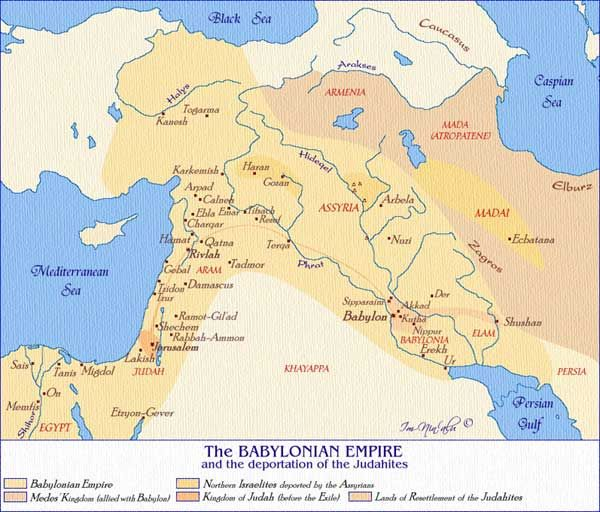 Map of The Babylonian Empire under King Nebukhadnetzar | Jewish