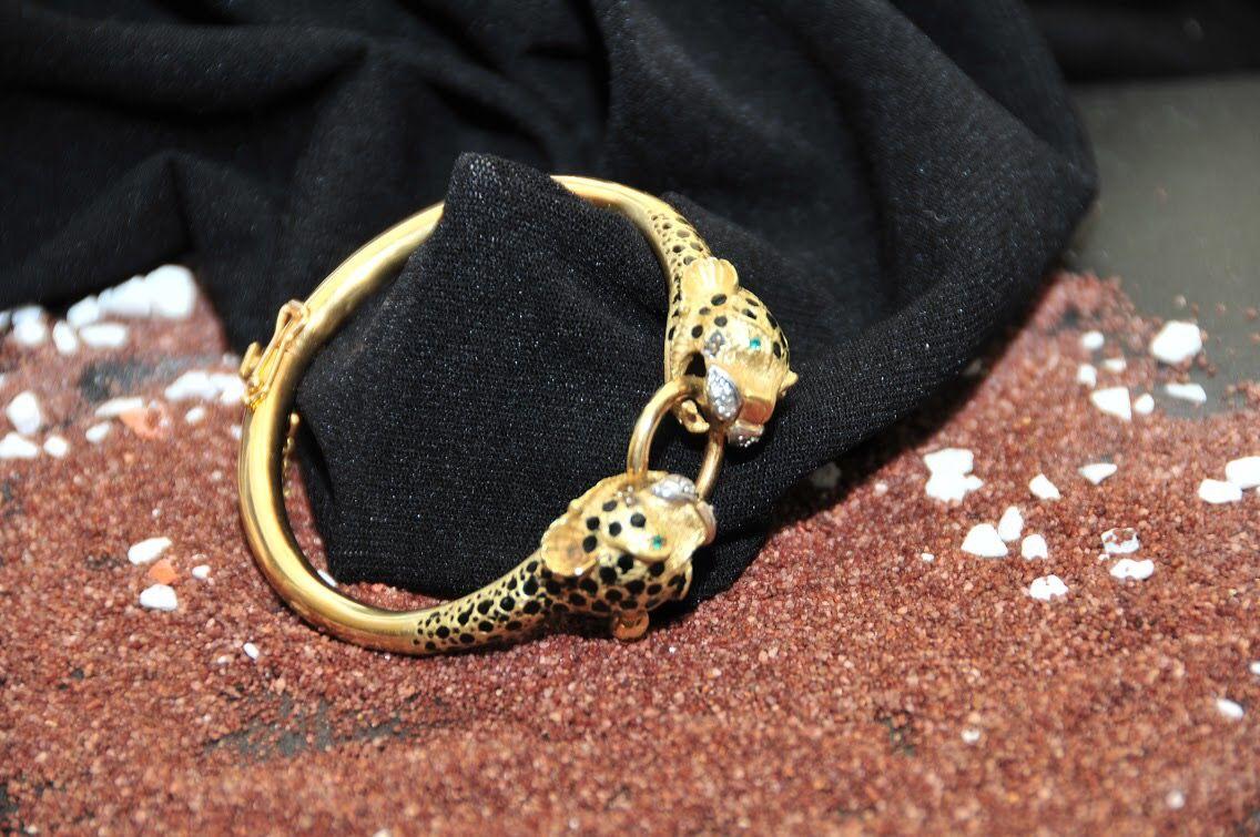 acd2fab5ef2f Pulsera pantera en oro amarillo con diamantes