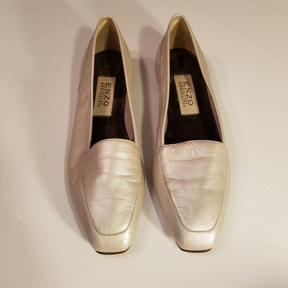 8813ccd585d Enzo Angiolini LIBERTY Square Toe Metallic Pearl Silver Loafers Shoes Sz  7.5N  EnzoAngiolini  Loafers  Career