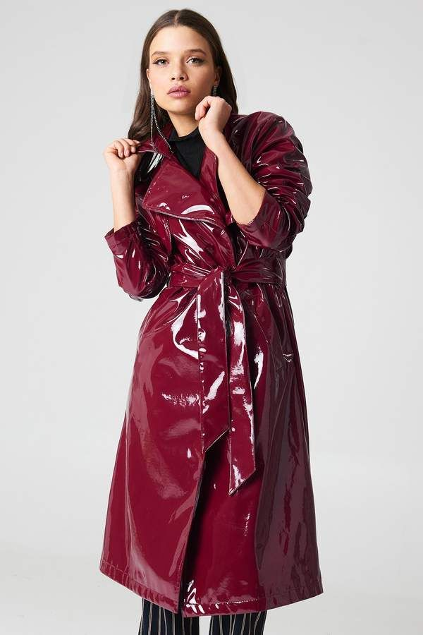 Patent Long Jacket Superb Glossy Plastic Fashion