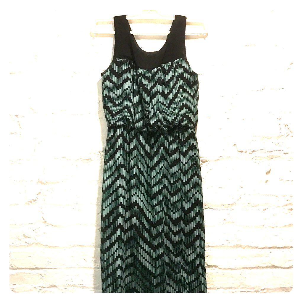 Black & Teal Patterned Maxi Dress