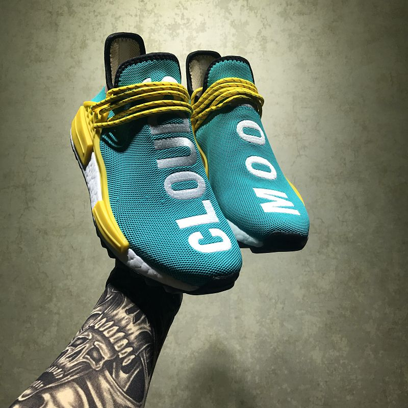 super popular 404a5 01426 Pharrell Williams Adidas NMD Human Race Hu Trail Sun Glow AC7188
