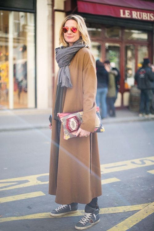 77ad76d9ba5 Mirrored glasses grey scarf tribal camel-tan coat and pattern pouch Fall  Winter street style fashion.