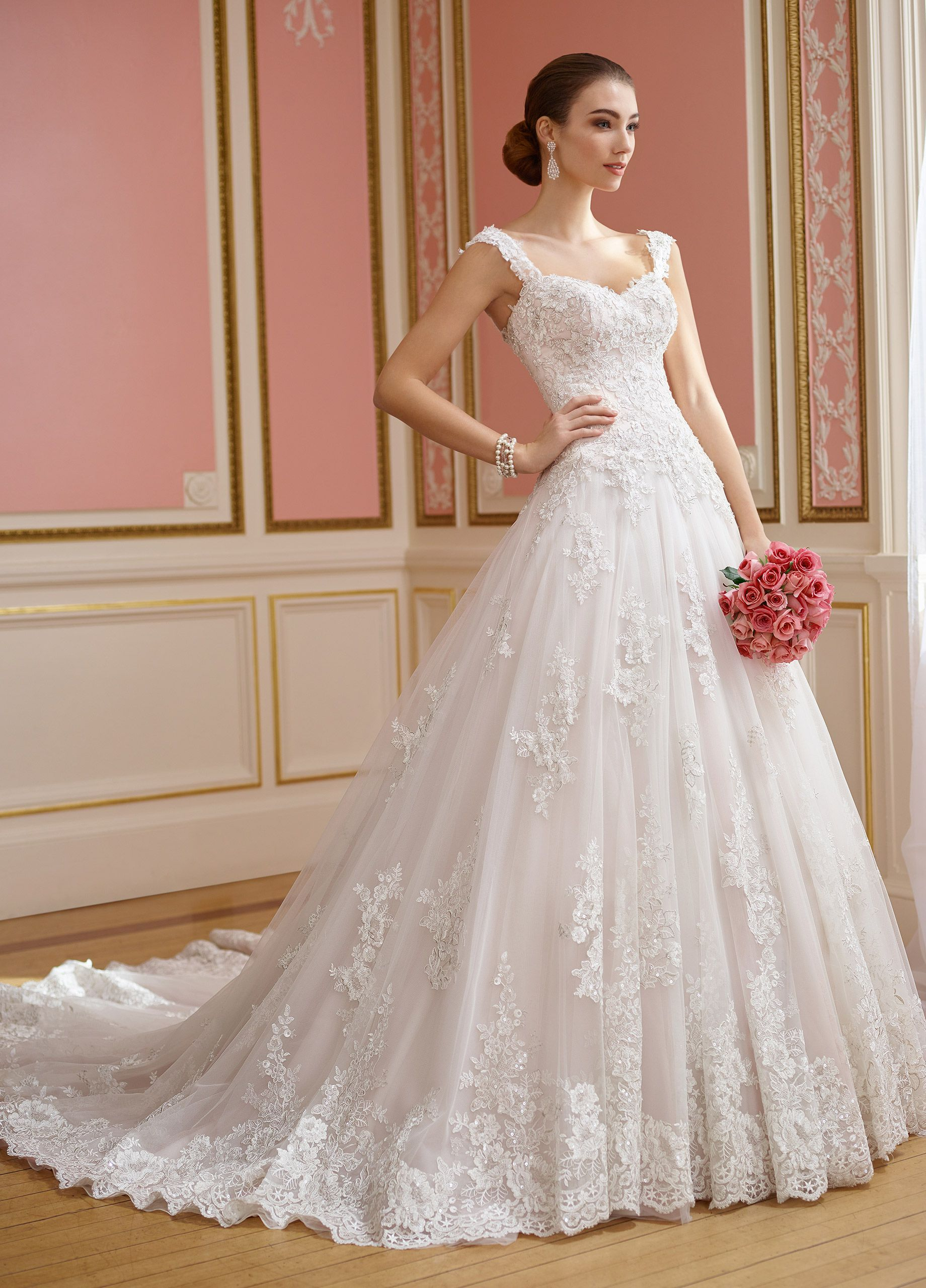 Lace u tulle ball gown wedding dress with sleeves nellie
