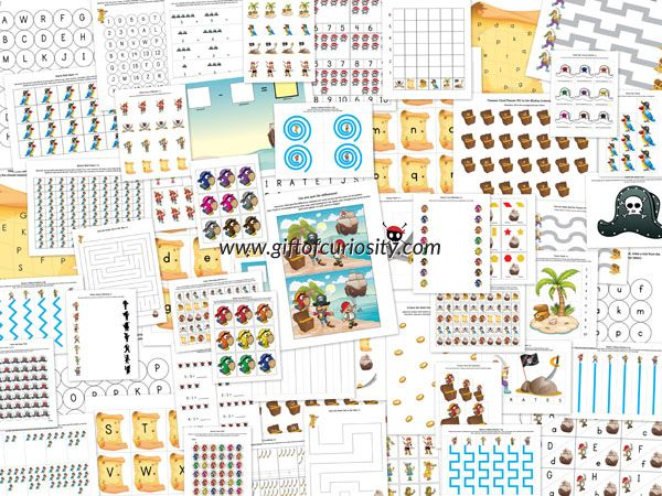 Pirate tlač Pack - 73 pirátskych pracovné listy pre deti vo veku 2-7 s aktivitami, ktoré zahŕňajú tvarov a veľkostí, farieb, jemnú motoriku, hádanky, šablónovanie, písmená, číslice, gramotnosť, a matematiku.  #pirates #freeprintables || Gift of Curiosity