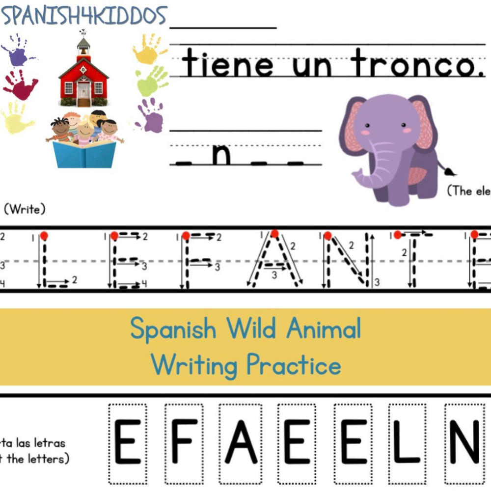 Spanish Wild Animals Writing Practice Spanish4kiddos Animal Writing Animals Wild Writing Practice