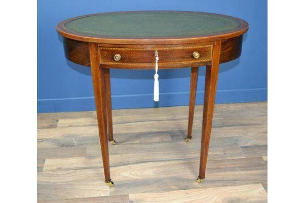 Edwardian Inlaid Mahogany Oval Writing Desk Circa 1900 | Vinterior  #20thcentury #antique - Edwardian Inlaid Mahogany Oval Writing Desk Circa 1900 Vinterior