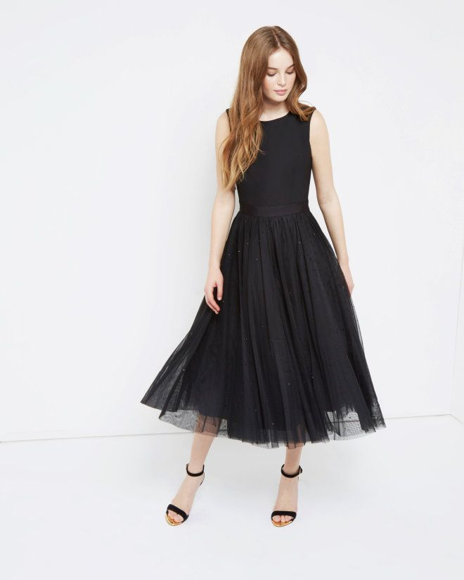 Black full skirt party dresses