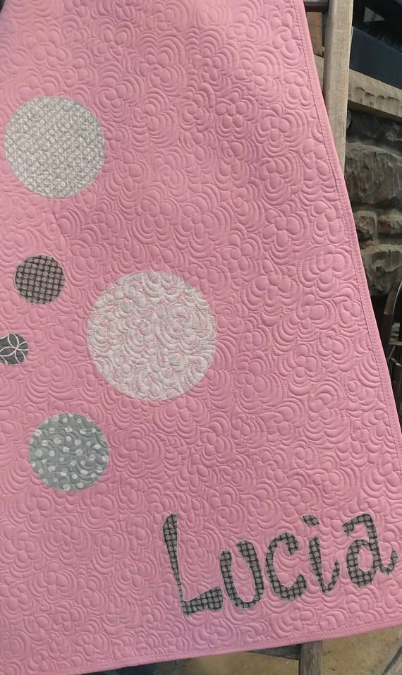 Pink and gray modern baby quilt for girl custom baby heirloom pink and gray modern baby quilt for girl custom baby heirloom handmade baby blanket personalized baby gift baby girl blanket with name negle Image collections