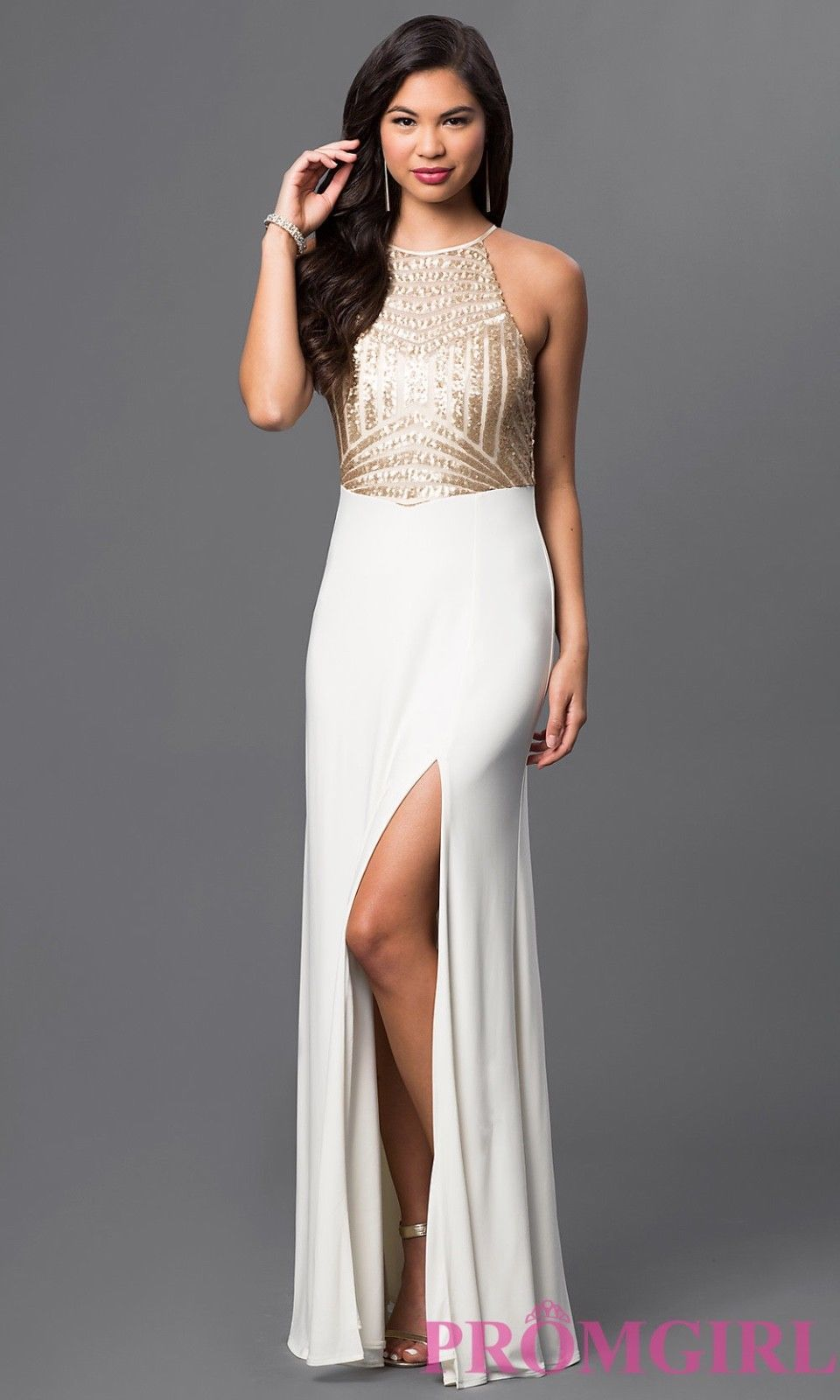 Nice awesome davidus bridal ivory white and gold sequins size