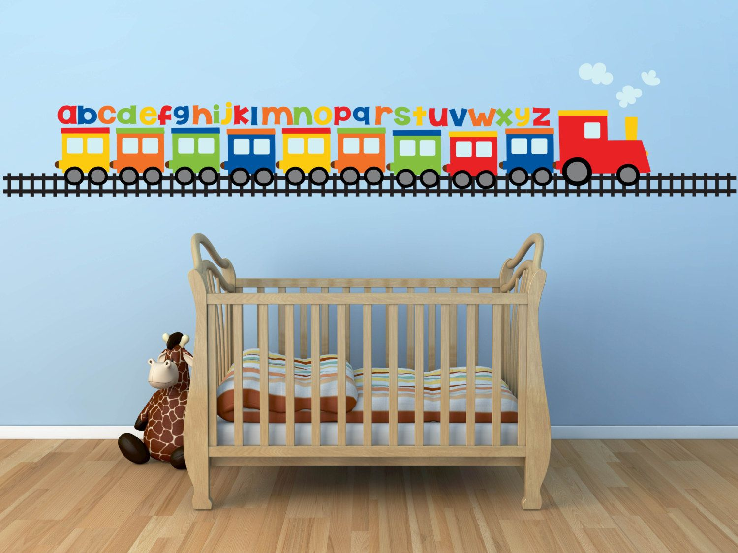 Baby nursery baby boy wall decals for nursery train wall for Alphabet wall mural