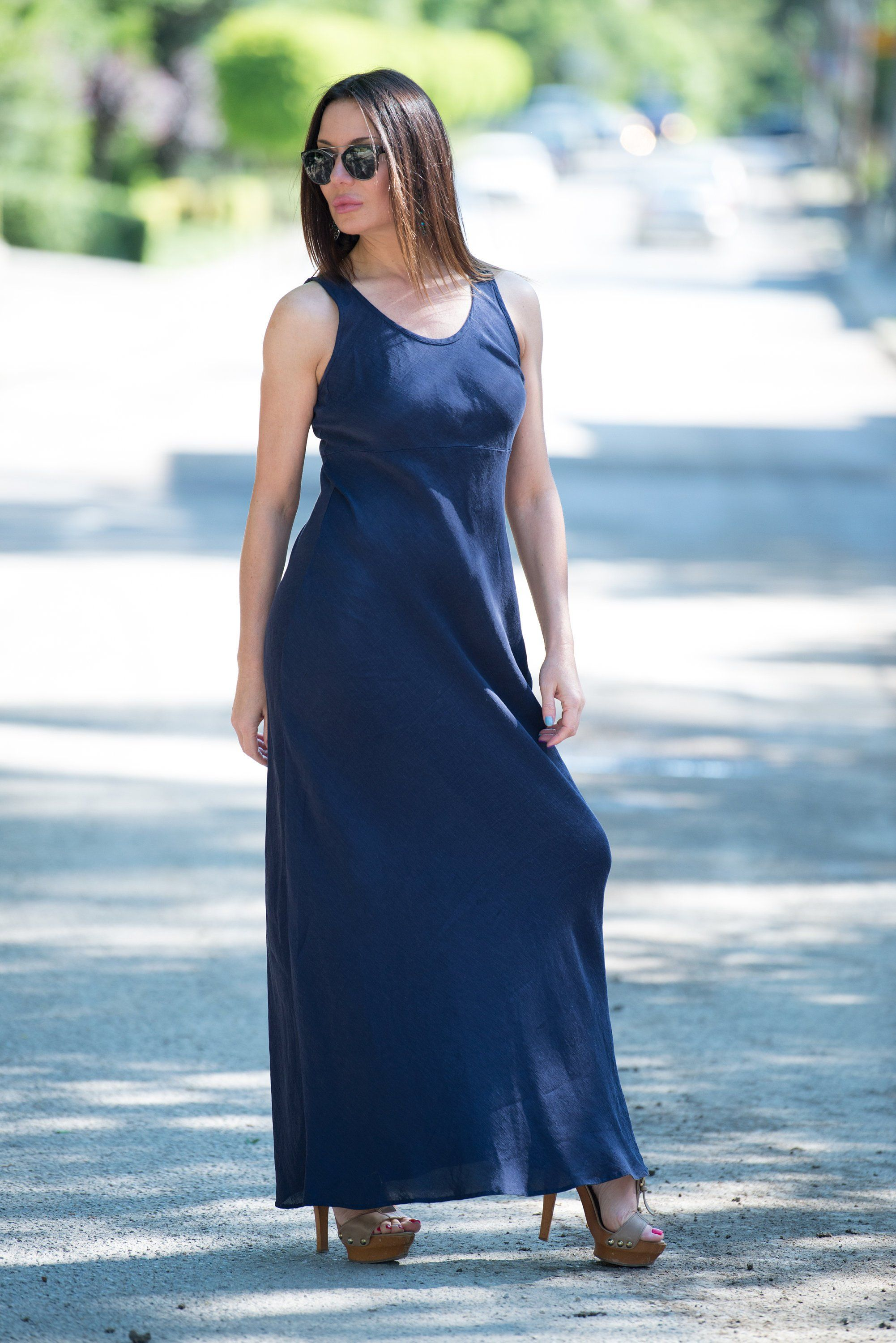 Linen maxi dress dark blue linen dress sleeveless dress womens